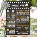 """Tableau """"Infos Mariés Cinéma"""" personnalisé"""