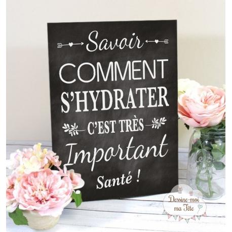 """Tableau Cocktail Mariage """"Savoir d'hydrater c'est important"""""""