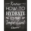 """Tableau Cocktail Mariage """"Savoir d'hydrater c'est important"""" - Anglais"""