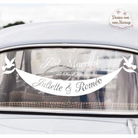 """Connu Stickers pour voiture des mariés """"Banderole"""" WT33"""