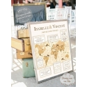 """Tableau Infos Mariés """"Voyage vintage"""" personnalisé"""