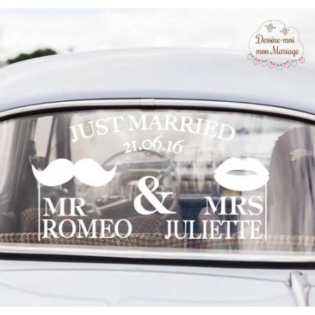 """""""Mr & Mrs"""" - Stickers de voiture personnalisé"""
