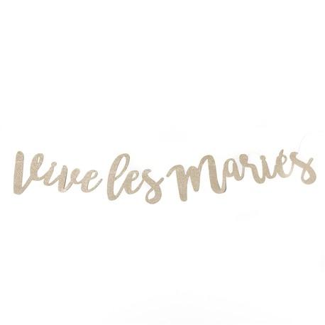 Guirlande VIVE LES MARIES pailletée doré champagne