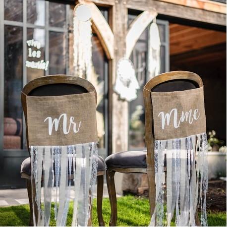 """Dos de Chaise """"Mr & Mme"""" - jute franges dentelle et lin"""
