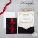 Faire part de Mariage ciselé - Pochette Rouge et noir