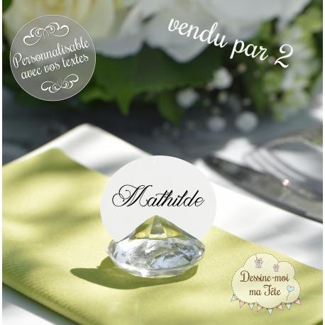"""2 Marque-place """"Diamant"""" personnalisé"""